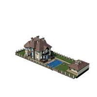 Cottage in the woods with a loft and pool PNG & PSD Images