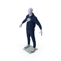 Nike Sportswear Suit Blue Lowered Hood on Mannequin PNG & PSD Images