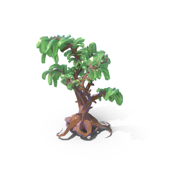 Lowpoly Fantasy Cartoon Game Tree PNG & PSD Images