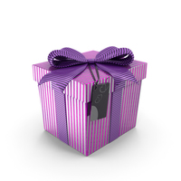 Purple Gift Box with Tag PNG & PSD Images