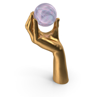 Golden Hand Holding Magic Ball PNG & PSD Images