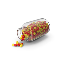 Yellow Red Tablet Bottle Opened PNG & PSD Images