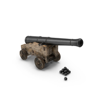 Old Ship Cannon with Balls PNG & PSD Images
