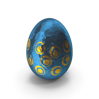 Easter Egg in Blue and Yellow Foil PNG & PSD Images