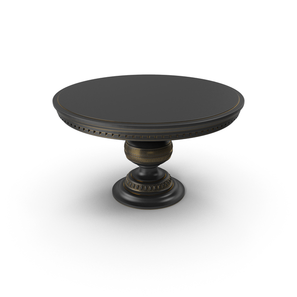 Black Paint Wood Round Table with Gold Edges PNG & PSD Images