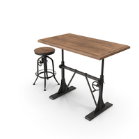 Pittsburgh Crank Standing Desk with Barstool PNG & PSD Images
