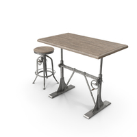 Pittsburgh Crank Standing Desk with Stool PNG & PSD Images
