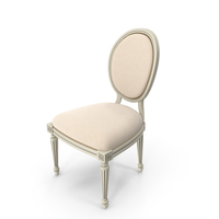 Vintage French Round Fabric Side Chair PNG & PSD Images