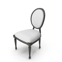 Vintage Wood French Round White Fabric Side Chair PNG & PSD Images