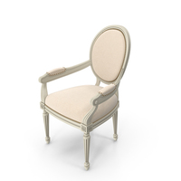 Vintage French Round Fabric Side Chair with Armrests PNG & PSD Images