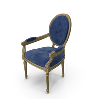 French Country Dark Blue Velvet Dining Chair PNG & PSD Images