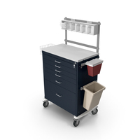 Anesthesia Workstation Tall Six Drawer  with Key Lock PNG & PSD Images