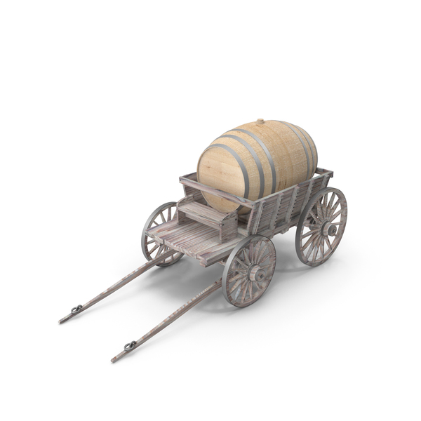 Wooden Cart With Barrel PNG & PSD Images