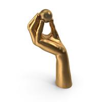 Golden Hand Holding a Golden Ping Pong Ball PNG & PSD Images