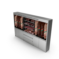 Refrigerated Showcase with Pork Products PNG & PSD Images