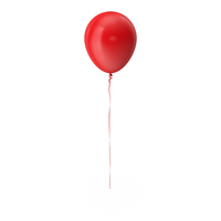 Red Balloon with Ribbon PNG & PSD Images