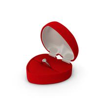 Red Heart Shaped Velvet Ring Gift Box PNG & PSD Images