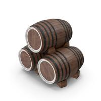 Three Wooden Barrels PNG & PSD Images
