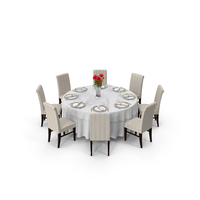 Round Restaurant Table Served With 8 Chairs PNG & PSD Images