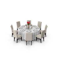 Round Served Table With Drinks PNG & PSD Images