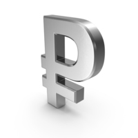 Russian Ruble Currency Symbol Silver PNG & PSD Images