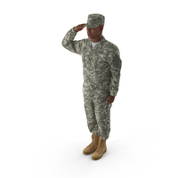 Saluting US ACU African American Soldier PNG & PSD Images