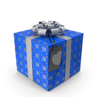 Gift Box Label Blue PNG & PSD Images