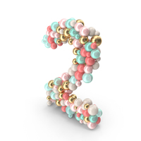 Number 2 Made of Balls PNG & PSD Images