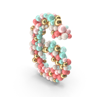 Number 6 Made of Balls PNG & PSD Images