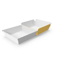 Burger Box Opened Completely Yellow and White PNG & PSD Images