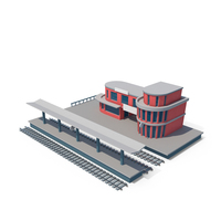 Stylized Cartoon Train Station PNG & PSD Images