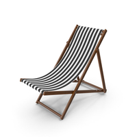 Folding Beach Chair with Black Strips Fabric PNG & PSD Images