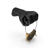 Glove Holding a Big Key Chain Ring PNG & PSD Images