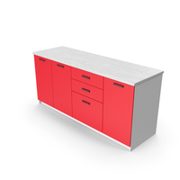 Kitchen Cabinets Red PNG & PSD Images