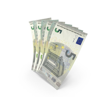 Handful of 5 Euro Banknote Bills PNG & PSD Images