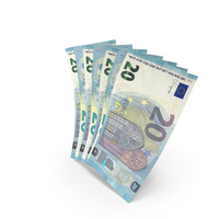 Handful of 20 Euro Banknote Bills PNG & PSD Images