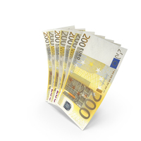 Handful of 200 Euro Banknote Bills PNG & PSD Images