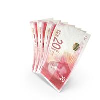 Handful of 20 Israeli Shekel Banknote Bills PNG & PSD Images
