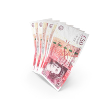 Handful of 50 UK Pound Banknote Bills PNG & PSD Images