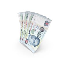 Handful of 50 Singapore Dollar Banknote Bills PNG & PSD Images