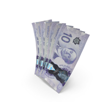 Handful of 10 Canadian Dollar Banknote Bills PNG & PSD Images