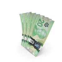Handful of 20 Canadian Dollar Banknote Bills PNG & PSD Images