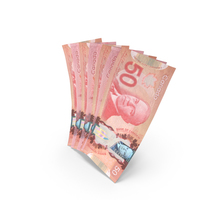 Handful of 50 Canadian Dollar Banknote Bills PNG & PSD Images