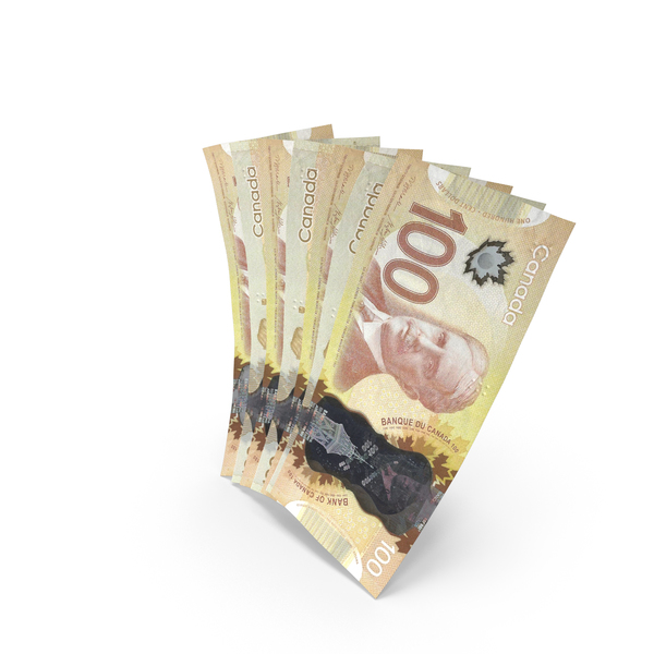 Handful of 100 Canadian Dollar Banknote Bills PNG & PSD Images