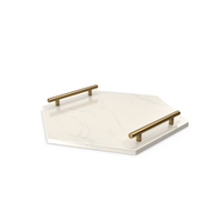 Gold Handle White Hexagon Shape Marble Tray PNG & PSD Images