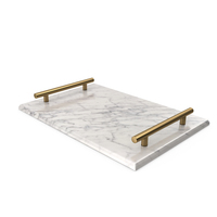 Gold Handle White Marble Tray PNG & PSD Images