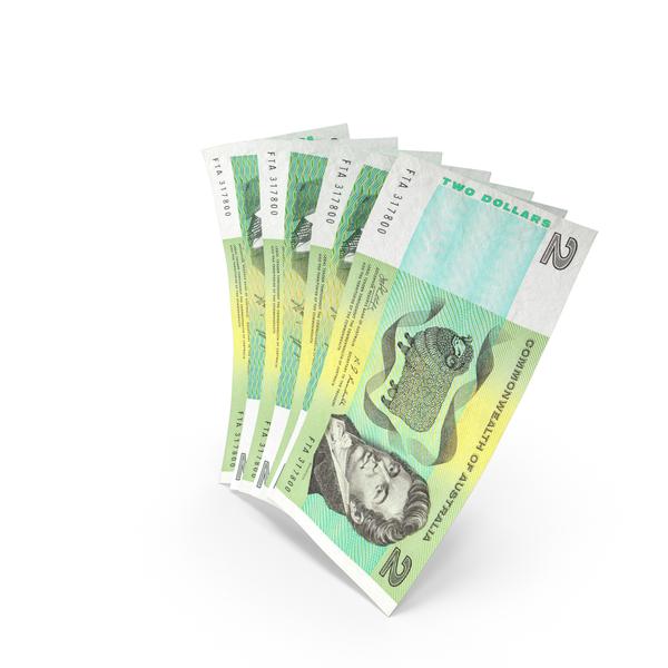 Handful of 2 Australian Dollar Banknote Bills PNG & PSD Images