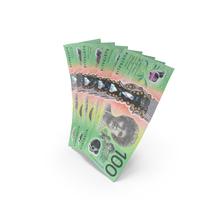 Handful of 100 Australian Dollar Banknote Bills PNG & PSD Images