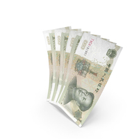 Handful of 1 Chinese Yuan Banknote Bills PNG & PSD Images