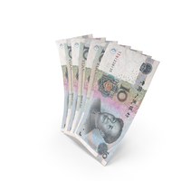 Handful of 10 Chinese Yuan Banknote Bills PNG & PSD Images